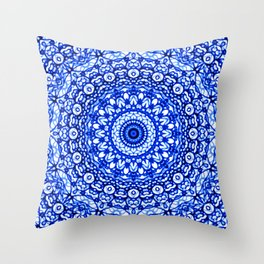 Blue Mandala Mehndi Style G403 Throw Pillow