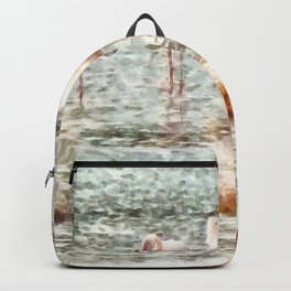 Six Flamingos A Wading Watercolor Backpack
