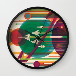Retro Space Poster - The Grand Tour Wall Clock