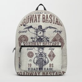 Vintage Motorcycle Poster Style Backpack