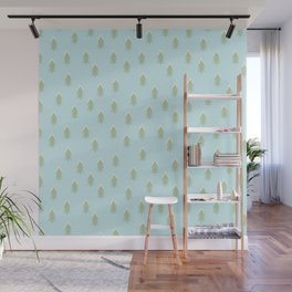 Merry christmas- With snow covered x-mas trees pattern on aqua background Wall Mural