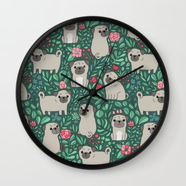 Pugs and summer flowers Wall Clock