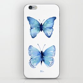 Two Blue Butterflies Watercolor Animals Insects iPhone Skin