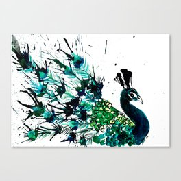 Peacock profile ink splatter Canvas Print
