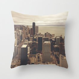 Chicago City Buildings Color Photo Architecture Throw Pillow