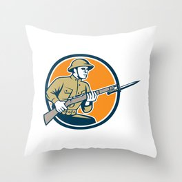 World War One Soldier American Retro Circle Throw Pillow