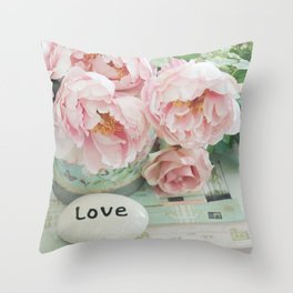 Pink Peonies Shabby Chic Cottage Peony Love Floral Prints Home Decor Throw Pillow