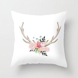 watercolor horns Throw Pillow