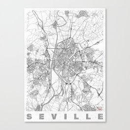 Seville Map Line Canvas Print