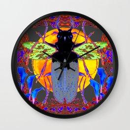 MYSTIC BLACK  BEETLE BLUE CALLA LILIES MOON ART Wall Clock