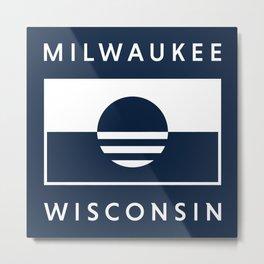 Milwaukee Wisconsin - Navy - People's Flag of Milwaukee Metal Print