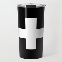 Swiss Cross Black and White Scandinavian Design for minimalism home room wall decor art apartment Travel Mug