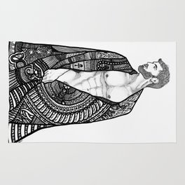 Robed male nude body Rug