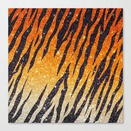Tiger Shout Glitter Stripe Canvas Print