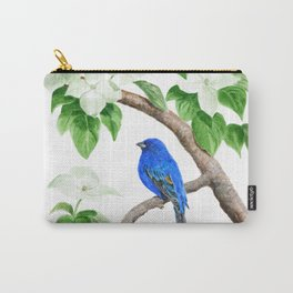 Royal Blue-Indigo Bunting in the Dogwoods by Teresa Thompson Carry-All Pouch