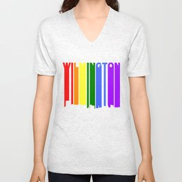 Wilmington North Carolina Gay Pride Skyline Unisex V-Neck
