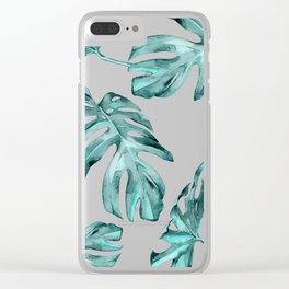 Turquoise Palm Leaves on White Wood Clear iPhone Case