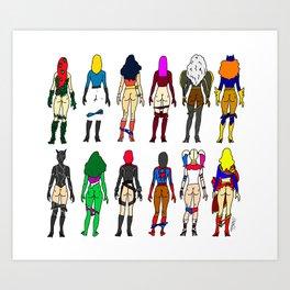 Superhero Butts - Girls Superheroine Butts LV Art Print