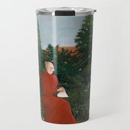 Portrait of a Woman in a Landscape - Henri Rousseau Travel Mug
