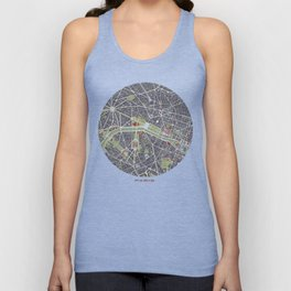 Paris city map engraving Unisex Tank Top