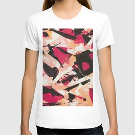 Bloom where you are planted | pink black coral abstract acrylic painting T-shirt