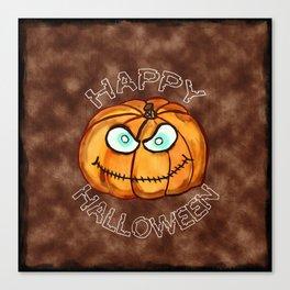 Happy Halloween Menacing Pumpkin Canvas Print