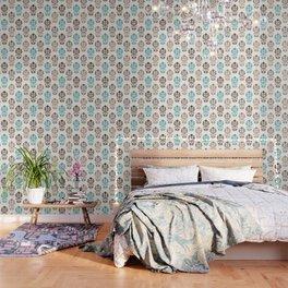 Heart Damask Art I Browns Teal Cream Wallpaper