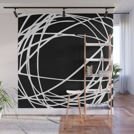 Black and White Circles and Swirls Modern Abstract Wall Mural