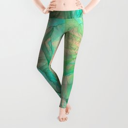 Mysterious rose emerging from the fractal space Leggings
