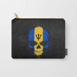 Flag of Barbados on a Chaotic Splatter Skull Carry-All Pouch