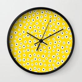 White Yellow Spring Flower Pattern Wall Clock