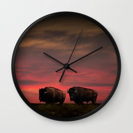 Two American Buffalo Bison at Sunset Wall Clock