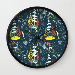 Retro Skiing  Wall Clock