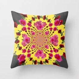 modern art cerise pink & yellow Throw Pillow