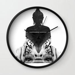 White Tiger Buddha Wall Clock