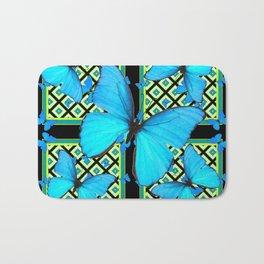 Ornate Black & Blue Azure Nouveau Butterfly Designs Bath Mat