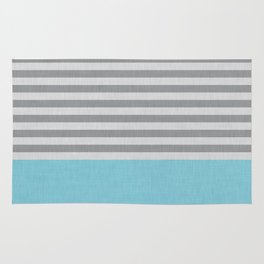 Blue and gray stripes and color block Rug