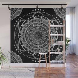 Black and White Geometric Mandala Wall Mural