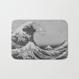 Black & White Japanese Great Wave off Kanagawa by Hokusai Bath Mat