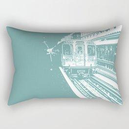 Teal Brown Line Rectangular Pillow