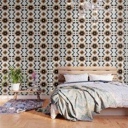 Urban Tribal Pattern 5 - Aztec - Concrete and Wood Wallpaper