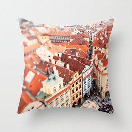 Red Roof Prague Throw Pillow