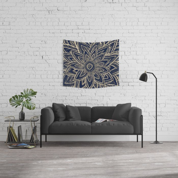 Cute Retro Gold abstract Flower Drawing  geometric Wall Tapestry