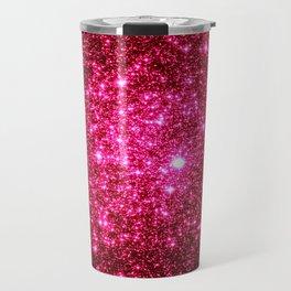 Hot Pink Glitter Galaxy Stars Travel Mug
