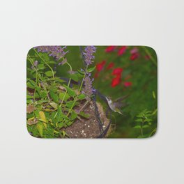 Hanging basket hummingbird with bee balm 52 Bath Mat