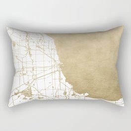 Chicago Gold and White Map Rectangular Pillow