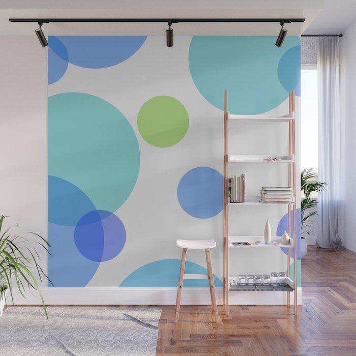 Blue Circles Wall Mural