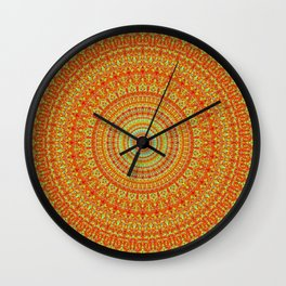Radiant Orange Abstract Quasicrystal Wall Clock