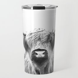 Black and White Highland Cow Portrait Travel Mug