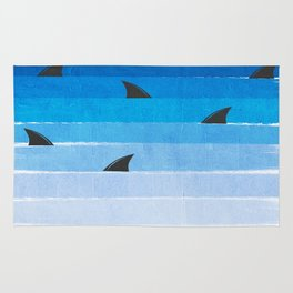 Sharks - shark week trendy black and white minimal kids pattern print ombre blue ocean surfing  Rug